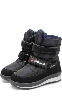 Текстильные ботинки с принтом и застежками велькро Jog Dog