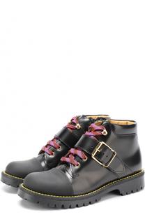 Кожаные ботинки с контрастной шнуровкой и ремешками Gallucci