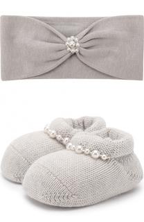 Комплект из вязаных пинеток и повязки на голову с бусинами La Perla