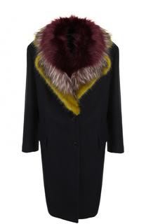 Шерстяное пальто с меховой отделкой воротника Dries Van Noten
