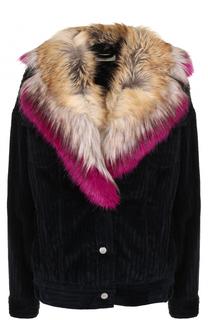 Вельветовая куртка с меховой отделкой воротника Dries Van Noten