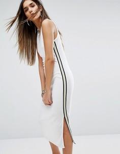 Платье из махровой микрофибры с полосками Juicy Couture Black Label Trk - Белый