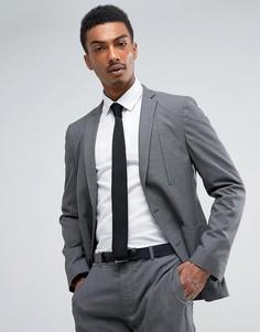 Темно-серый фактурный приталенный пиджак ASOS - Серый