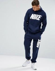 Флисовый спортивный костюм темно-синего цвета Nike JDI 861768-451 - Темно-синий