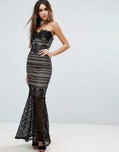 Кружевное платье макси с юбкой годе Lipsy - Черный