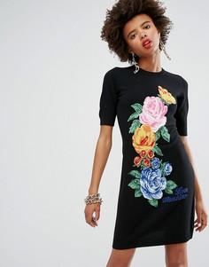 Вязаное платье с добавлением кашемира и цветочным рисунком Love Moschino - Черный