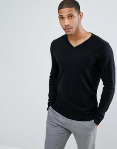 Джемпер из хлопка и шелка с V-образным вырезом Selected Homme - Черный