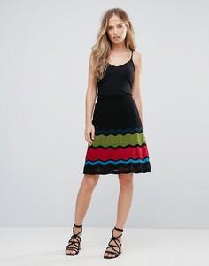 А-образная юбка с добавлением шерсти и узором зигзаг M Missoni - Черный