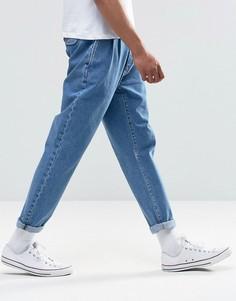 Голубые прямые джинсы с двумя складками ASOS - Синий