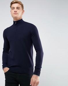 Темно-синий джемпер с короткой молнией и логотипом Armani Jeans - Темно-синий