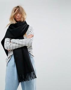 Длинный oversize-шарф из овечьей шерсти ASOS - Черный