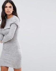 Платье в рубчик с оборкой Brave Soul - Серый