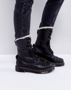 Ботинки с искусственным мехом и 9 парами люверсов Dr Martens Aimilita - Черный