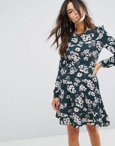 Платье с цветочным принтом и оборками Brave Soul - Зеленый