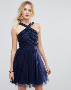 Платье для выпускного с лентой и кружевом Little Mistress - Темно-синий