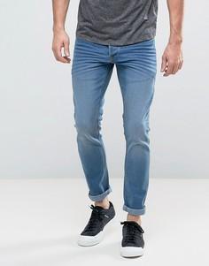 Светло-синие эластичные джинсы слим Solid - Синий