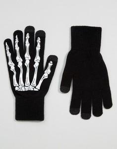Черные перчатки для сенсорных гаджетов с принтом скелета ASOS HALLOWEEN - Черный