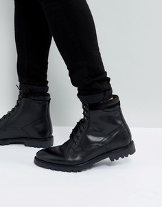 Черные кожаные ботинки на шнуровке Base London York - Черный