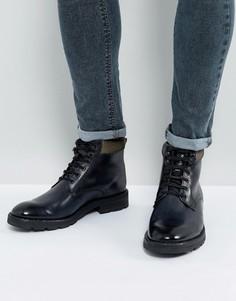 Серые кожаные ботинки на шнуровке Base London Panzer - Серый