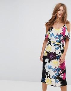 Платье-комбинация миди с открытыми плечами и цветочным принтом New Look - Желтый