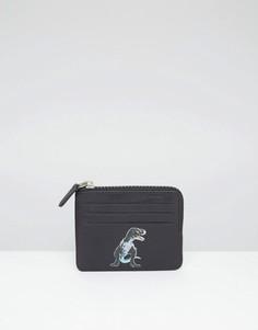 Кожаный кошелек на молнии с принтом динозавра ASOS - Черный