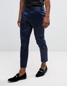 Темно-синие сатиновые брюки скинни с окантовкой ASOS - Темно-синий