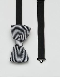 Трикотажный галстук-бабочка в полоску 7X - Черный
