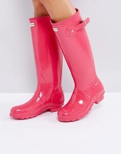 Розовые блестящие резиновые сапоги Hunter Original Tall - Розовый