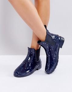 Резиновые ботинки челси с принтом созвездий Hunter Refined - Темно-синий