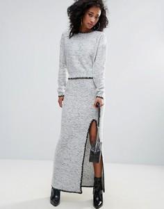 Трикотажная юбка-карандаш с разрезом Urban Bliss - Серый