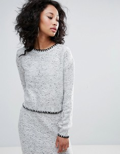 Укороченный джемпер с контрастными строчками Urban Bliss - Серый