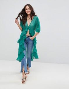 Шифоновая блузка макси с оборками ASOS Ultimate - Зеленый