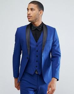 Приталенный пиджак-смокинг с атласными лацканами Selected Homme - Синий