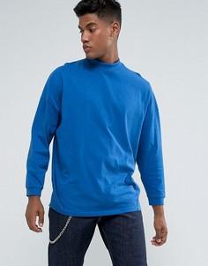 Синяя оверсайз-футболка с высоким воротом и укороченными рукавами ASOS - Синий