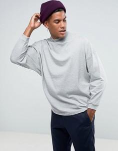 Серая оверсайз-футболка с укороченными рукавами ASOS - Серый