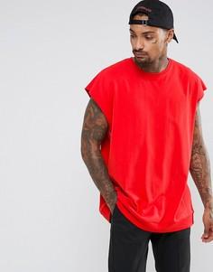 Оверсайз-футболка без рукавов с необработанными краями и вставками в рубчик ASOS - Красный