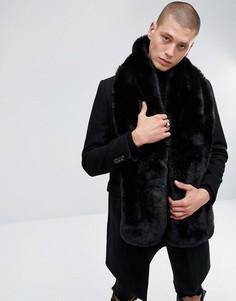 Черный шарф из искусственного меха ASOS - Черный