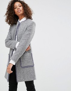 Жакет без застежек с бахромой из ткани с добавлением шерсти Helene Berman - Серый