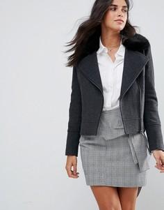 Полушерстяная байкерская куртка с искусственным мехом Helene Berman - Серый