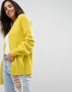 Кардиган крупной вязки с объемными рукавами ASOS - Желтый