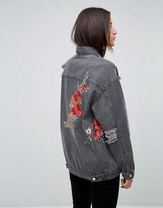 Джинсовая куртка с цветочной вышивкой Uncivilised - Черный