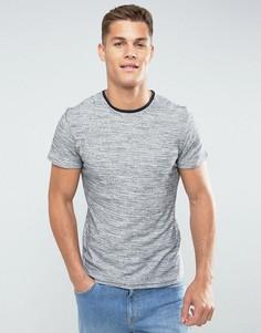 Меланжевая хлопковая футболка с контрастным воротом Selected Homme - Темно-синий
