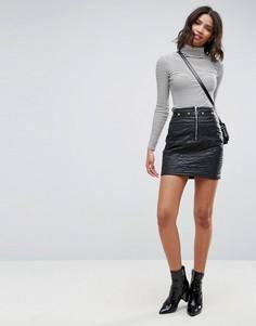 Стеганая мини-юбка с заклепками и молнией ASOS - Черный