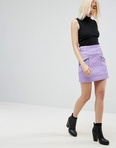 Мини-юбка из искусственной кожи со стеганой отделкой ASOS - Фиолетовый