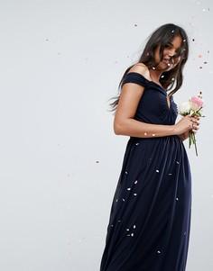 Платье макси со сборками ASOS WEDDING - Темно-синий