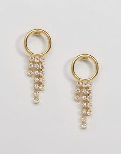 Броские позолоченные серьги-кольца с подвесками Gogo Philip - Золотой