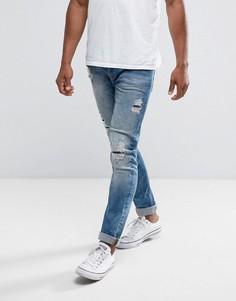 Узкие выбеленные джинсы с рваной отделкой Only & Sons - Синий