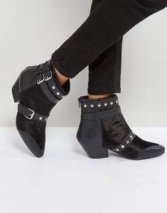Ботинки на низком каблуке с заклепками на ремешках Qupid - Черный