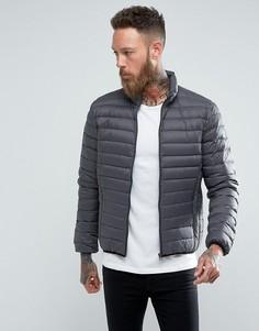 Серо-черная узкая пуховая куртка Schott Oakland - Серый