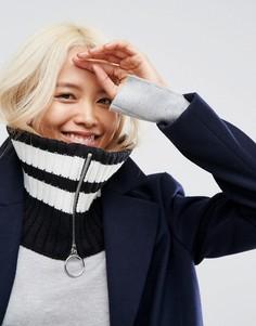 Черно-белый шарф-снуд в полоску с молнией ASOS - Черный